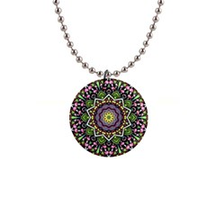 Psychedelic Leaves Mandala Button Necklace