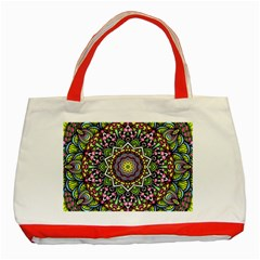 Psychedelic Leaves Mandala Classic Tote Bag (Red)
