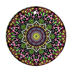 Psychedelic Leaves Mandala Round Ornament (Two Sides)