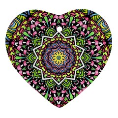 Psychedelic Leaves Mandala Heart Ornament (Two Sides)
