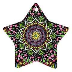 Psychedelic Leaves Mandala Star Ornament (Two Sides)