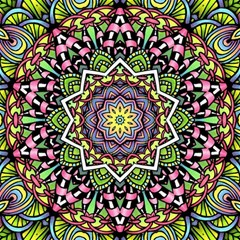 Psychedelic Leaves Mandala Canvas 16  x 16  (Unframed)