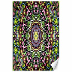 Psychedelic Leaves Mandala Canvas 24  x 36  (Unframed)