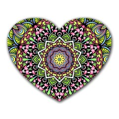 Psychedelic Leaves Mandala Mouse Pad (Heart)