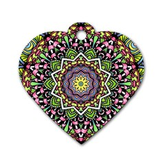 Psychedelic Leaves Mandala Dog Tag Heart (Two Sided)