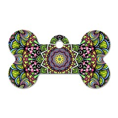 Psychedelic Leaves Mandala Dog Tag Bone (Two Sided)