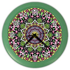 Psychedelic Leaves Mandala Wall Clock (Color)