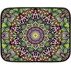 Psychedelic Leaves Mandala Mini Fleece Blanket (Two Sided)