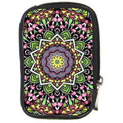 Psychedelic Leaves Mandala Compact Camera Leather Case