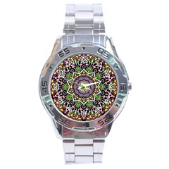 Psychedelic Leaves Mandala Stainless Steel Watch