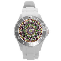 Psychedelic Leaves Mandala Plastic Sport Watch (Large)