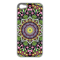 Psychedelic Leaves Mandala Apple Iphone 5 Case (silver)
