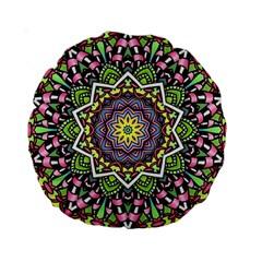 Psychedelic Leaves Mandala 15  Premium Round Cushion