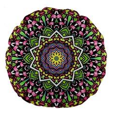 Psychedelic Leaves Mandala 18  Premium Round Cushion