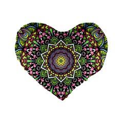 Psychedelic Leaves Mandala 16  Premium Heart Shape Cushion