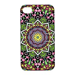 Psychedelic Leaves Mandala Apple iPhone 4/4S Hardshell Case with Stand