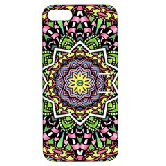 Psychedelic Leaves Mandala Apple Iphone 5 Hardshell Case With Stand