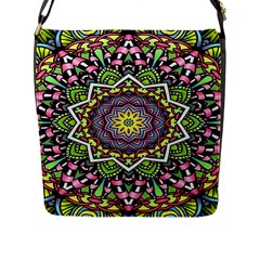 Psychedelic Leaves Mandala Flap Closure Messenger Bag (Large)