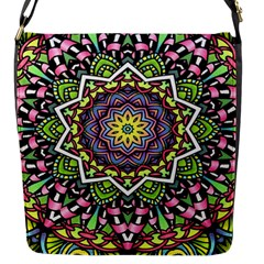Psychedelic Leaves Mandala Flap Closure Messenger Bag (Small)
