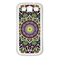 Psychedelic Leaves Mandala Samsung Galaxy S3 Back Case (White)