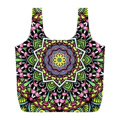 Psychedelic Leaves Mandala Reusable Bag (L)
