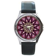 Purple Flower Round Leather Watch (Silver Rim)