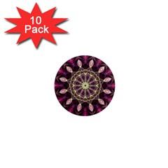 Purple Flower 1  Mini Button Magnet (10 Pack)