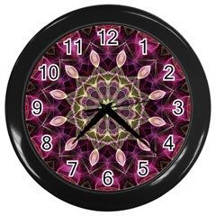 Purple Flower Wall Clock (black)