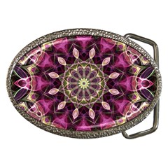 Purple Flower Belt Buckle (Oval)
