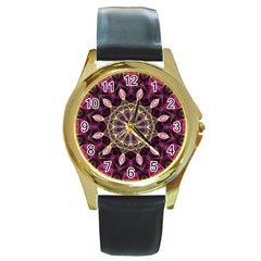 Purple Flower Round Leather Watch (Gold Rim)