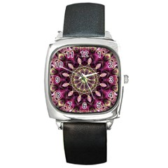 Purple Flower Square Leather Watch