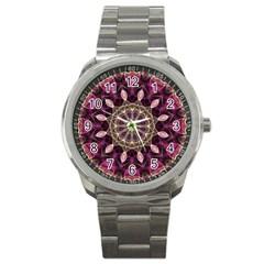 Purple Flower Sport Metal Watch