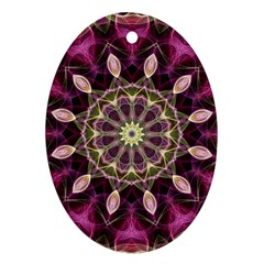 Purple Flower Oval Ornament (Two Sides)