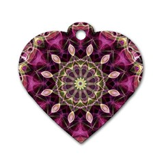 Purple Flower Dog Tag Heart (One Sided)