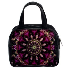 Purple Flower Classic Handbag (two Sides)