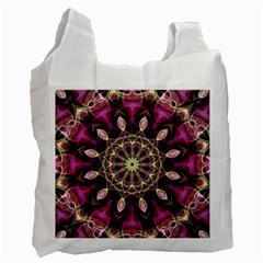 Purple Flower White Reusable Bag (One Side)