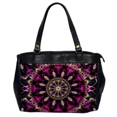 Purple Flower Oversize Office Handbag (One Side)