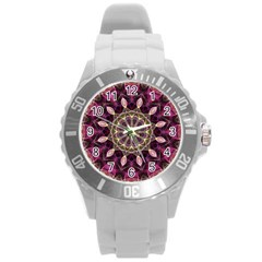Purple Flower Plastic Sport Watch (Large)