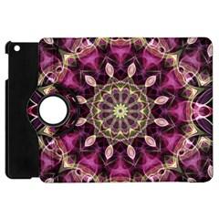 Purple Flower Apple Ipad Mini Flip 360 Case
