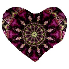 Purple Flower 19  Premium Heart Shape Cushion