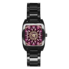 Purple Flower Stainless Steel Barrel Watch