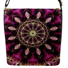 Purple Flower Flap Closure Messenger Bag (Small)