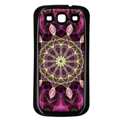 Purple Flower Samsung Galaxy S3 Back Case (Black)