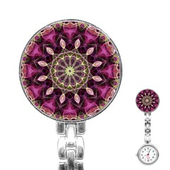 Purple Flower Stainless Steel Nurses Watch