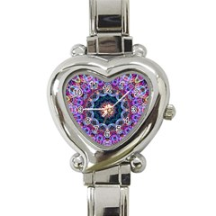Purple Lotus Heart Italian Charm Watch