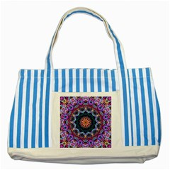 Purple Lotus Blue Striped Tote Bag