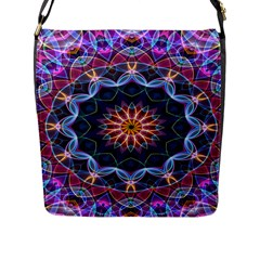 Purple Lotus Flap Closure Messenger Bag (Large)