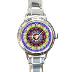 Rainbow Glass Round Italian Charm Watch
