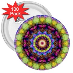 Rainbow Glass 3  Button (100 pack)