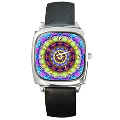 Rainbow Glass Square Leather Watch